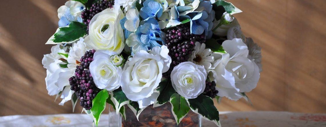 Silk Hydrangea Blue Glass